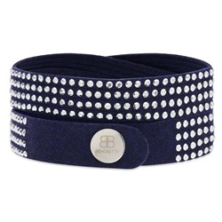 Suede Studded Bracelet in Navy