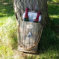 Two Bottle Chilled Wine Basket | With Shoulder Strap