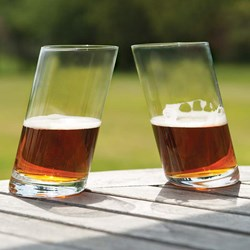 Two Tipsy Glass Tumblers