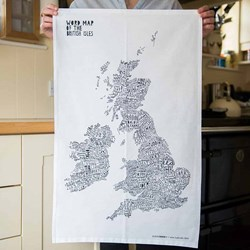 Word Map of the British Isles Tea Towel | A Map Full of Personality