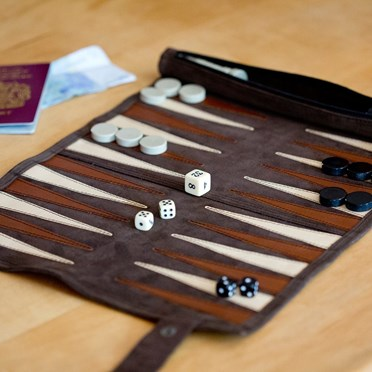 Brown Roll Up Suede Backgammon Set - Large