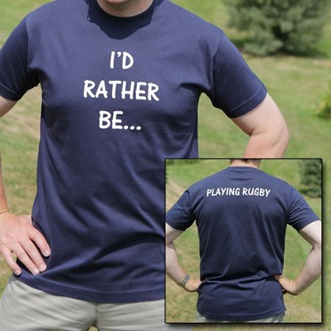Adult Personalised I'd Rather Be... Navy Blue T-Shirt