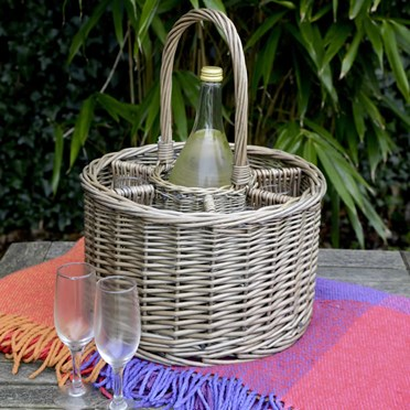 Circular Bottle Basket with 6 Glasses
