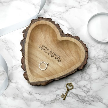 Personalised Rustic Wooden Heart Dish