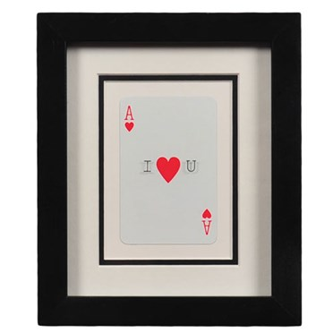 Vintage Playing Card I Heart You Frame