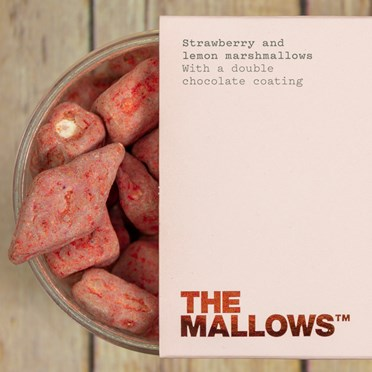 Strawberry White and Milk Chocolate Coated Marshmallows