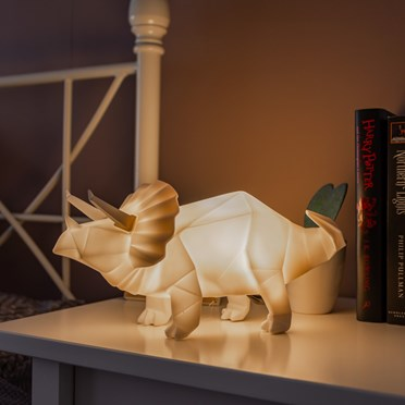 An image of Large Dinosaur Origami Triceratops Lamp