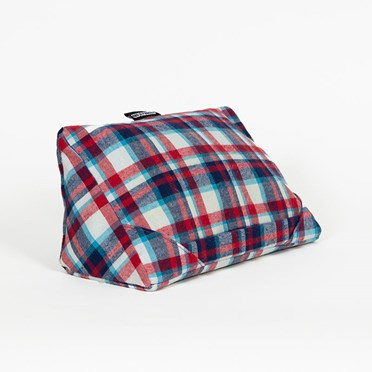 Red and Blue Tartan Tablet Cushion