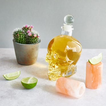 Skull Decanter and Salt Shot Glasses