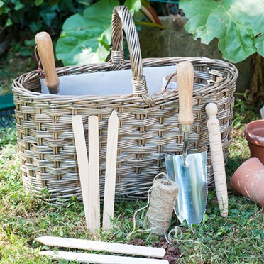 Garden Basket with Garden Tools
