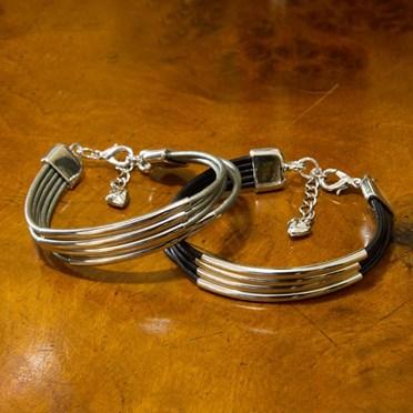 Alana Leather & Silver Multistrand Bracelet