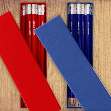 Box of 12 Personalised Pencils Blue or Red