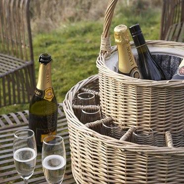 Insulated Champagne Basket with 4 Bottles