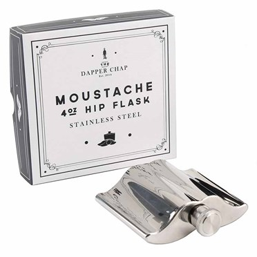 Dapper Chap Moustache Hip Flask