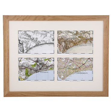 Four OS Maps in a Light Oak Frame