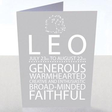 Leo Star Sign Card