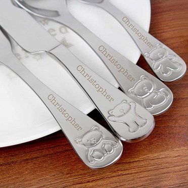 Personalised Childrens Cutlery Set with Teddy Bear Design