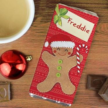 Personalised Christmas Gingerbread Man Chocolate Bar