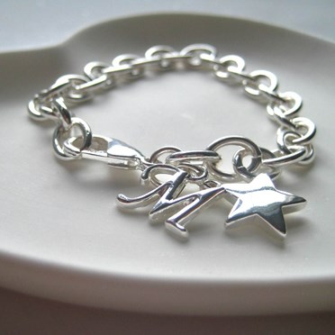 Personalised Heart or Star Charm Cable Bracelet