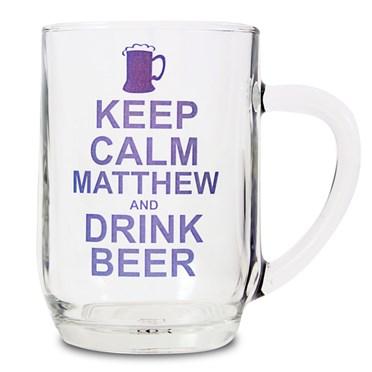 Personalised Keep Calm Drink Beer Glass