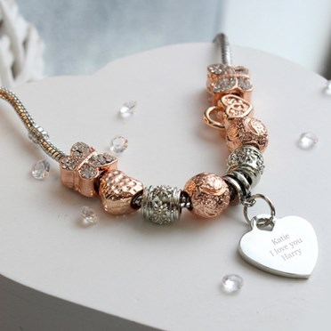 Personalised Rose Gold Charm Pendant Necklace