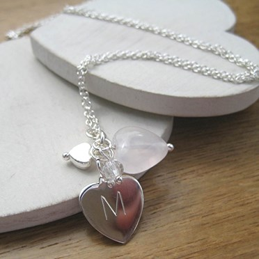 Personalised Rose Quartz Heart Charm Necklace