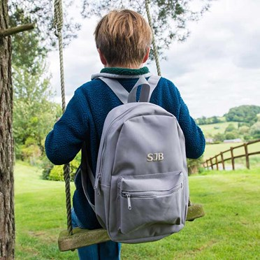 Personalised Small Grey Backpack