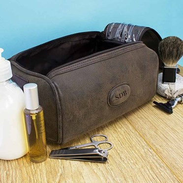 Personalised Suede Textured Wash Bag