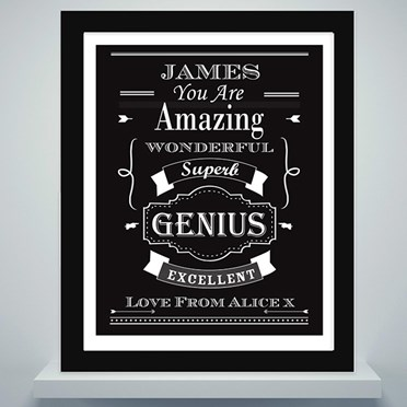 Personalised Vintage Typography Poster and Frame