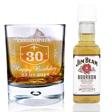 Personalised Whisky Glass & Bourbon Miniature Set