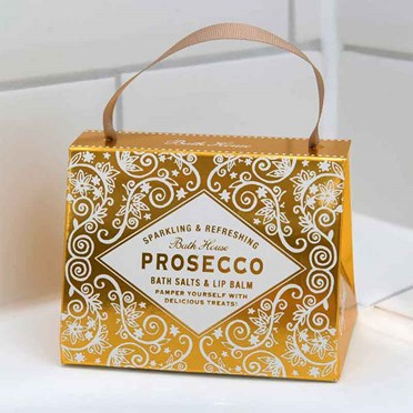 Prosecco Lip Balm and Bath Salts Handbag