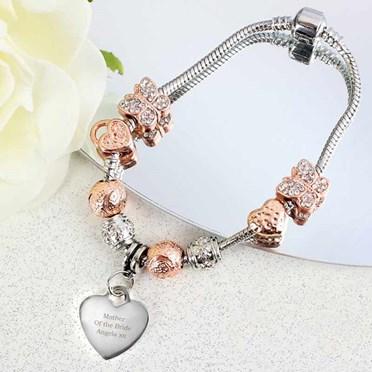 Personalised Rose Gold Charm Bracelet