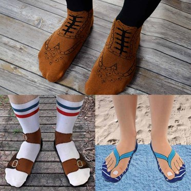 Set of 3 Brogue, Flip Flop & Sandal Socks