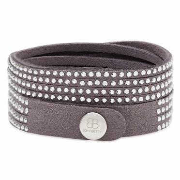 Suede Studded Bracelet in Mink Grey