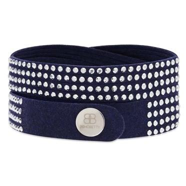 Suede Studded Bracelet in Navy