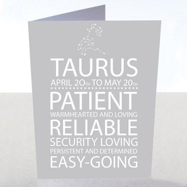 Taurus Star Sign Card