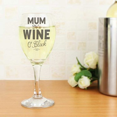 Personalised It's Wine O'Clock Glass