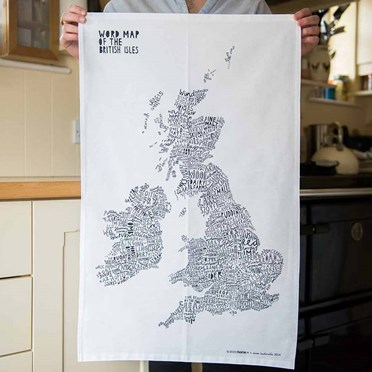 Word Map of the British Isles Tea Towel