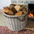 Round Antique Wash Log Basket