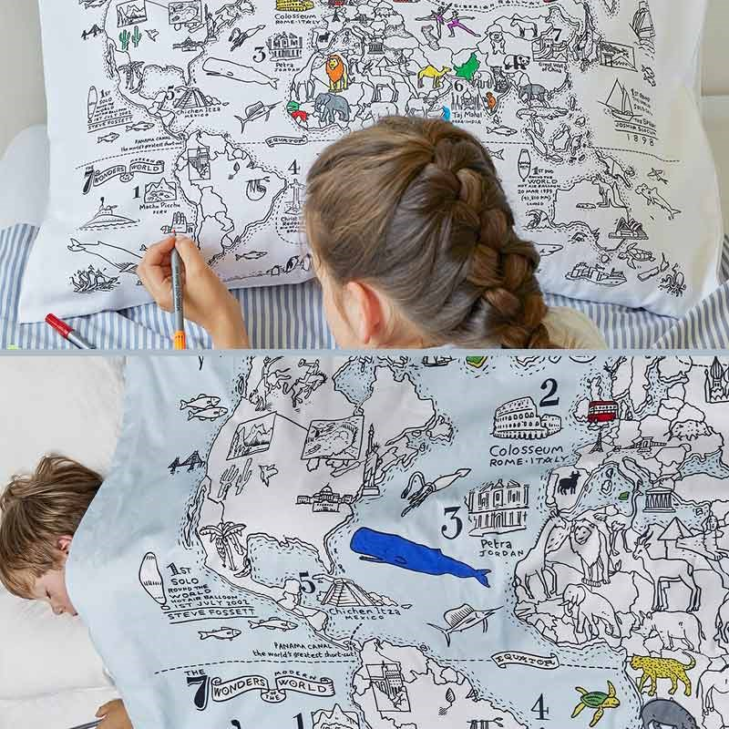 Doodle world map duvet cover and pillow set the present finder doodle world map duvet cover and pillow set gumiabroncs Choice Image