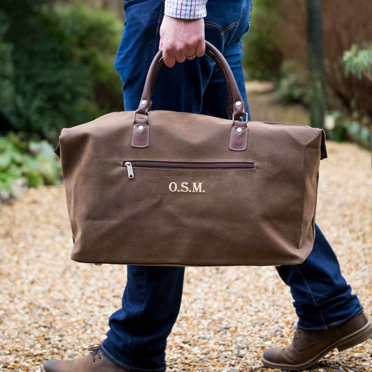 Personalised Brown Faux Leather Weekend Bag | The Present Finder