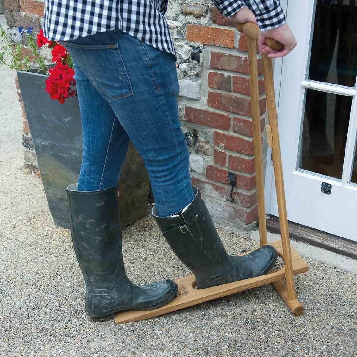 Upright Folding Oak Boot Jack The Present Finder